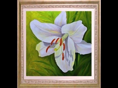 Как нарисовать цветок лилии. Рисуем лилию маслом и акрилом. Ботаническая живопись.Lily painting