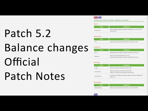 Job Balance Changes Patch 5.2 - Official Patch Notes - FFXIV