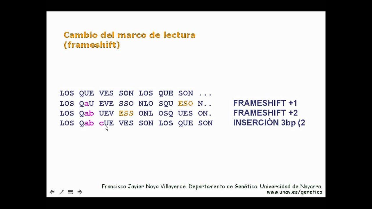 Mutaciones que cambian el marco de lectura - YouTube