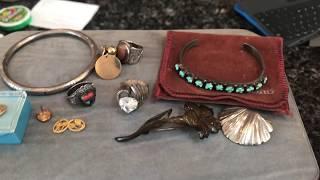 Estate Sale Finds Haul #72 - Super Cheap 10k 14k Gold ! Zuni Bracelet !
