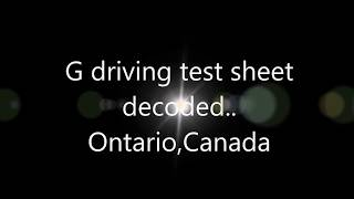 G driving test sheet decoded-Ontario CANADA
