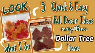 LOOK what I do with these Dollar Tree MAPLE LEAVES | 5 QUICK and EASY Decor Ideas