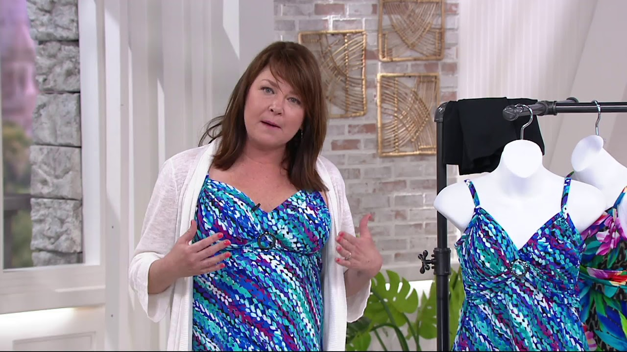 eee3d42989048 DreamShaper by Miraclesuit Cara Tankini Skort Swimsuit on QVC - YouTube