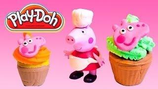 Peppa豚レイドゥアイスクリーム屋さんです!!! レDohカップケーキメーカーとPeppa豚の玩具をセットプレートd