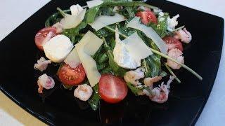 Видео-рецепт – Салат с рукколой, королевскими креветками и моцареллой