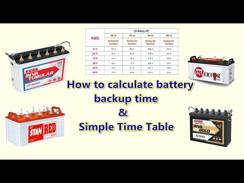 how to calculate battery backup time and simple backup time