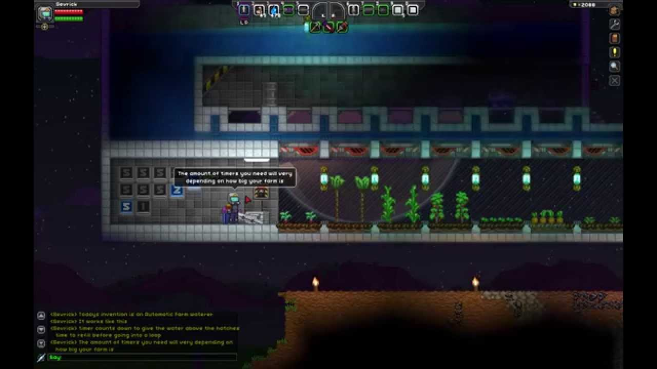 Starbound Inventor Episode 1 Automatic Farm Watering System Youtube Wiring Station