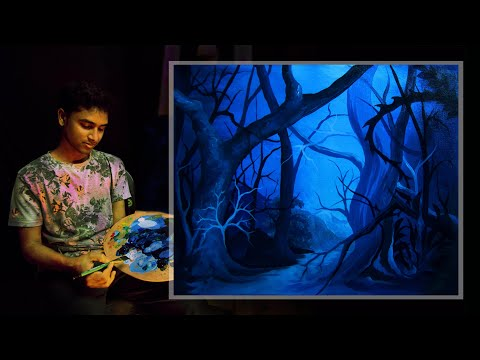 Acrylic painting tutorial Nature for beginners step by step / abstract acrylic painting tutorial.