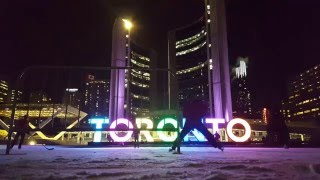Glowing Hockey Puck on Nathan Phillips Square