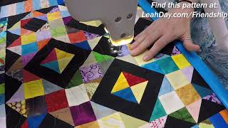 Let's Quilt Undulation on a Scrap Overload Quilt Block on the Longarm