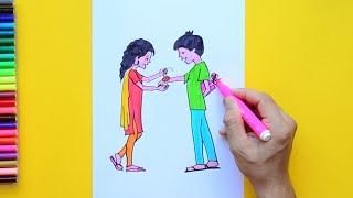 How to draw and color a young sister tying brother Rakhi