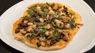 Flatbread With White Bean Purée, Mushrooms, Kale, And Sausage