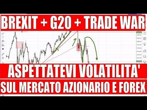 Volatilità sul Mercato Azionario e Forex per il G20, la Brexit e la Trade War di Trump e