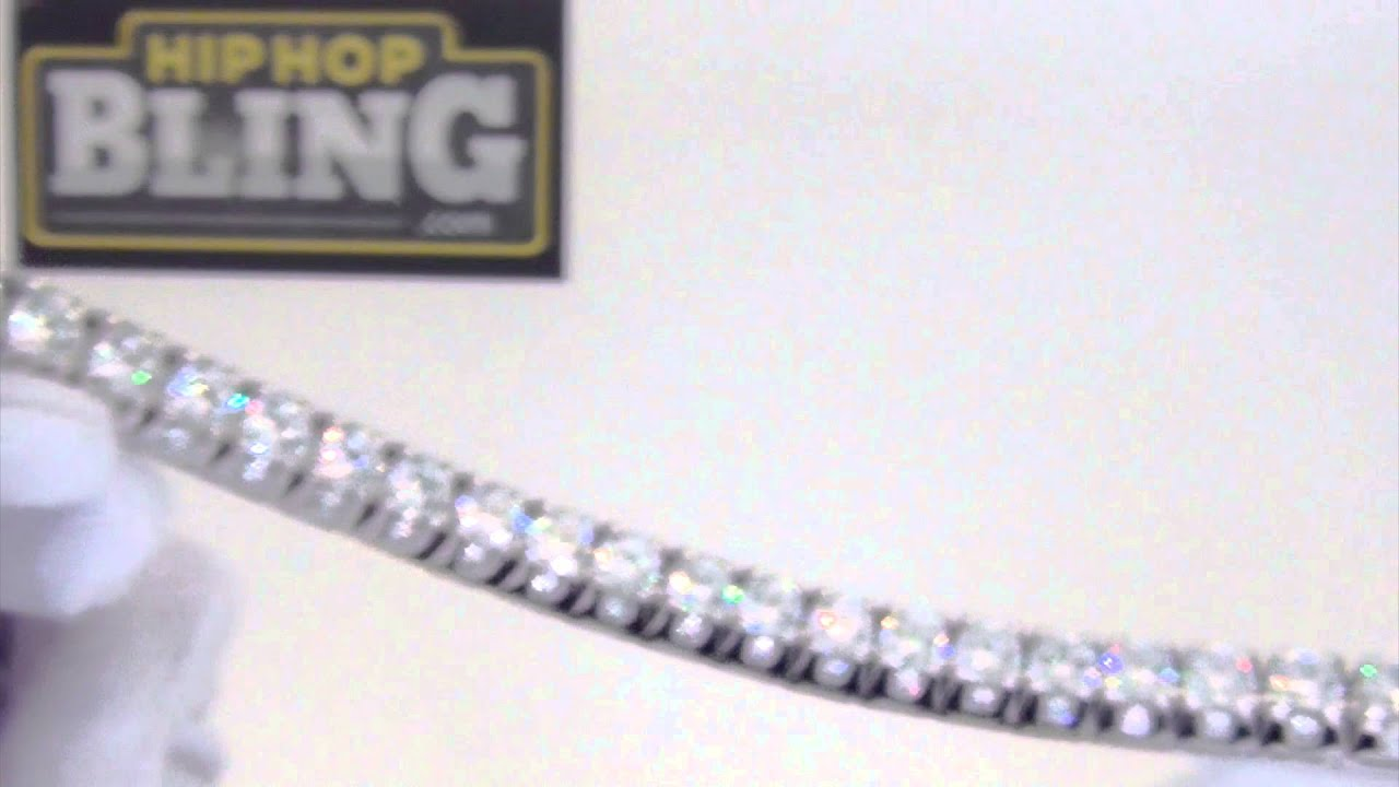 925 Sterling Silver 3D CZ Tennis Bracelet | HipHopBling com