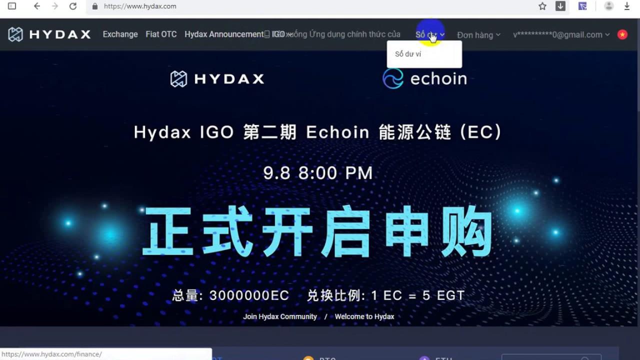 Update Sàn Hydax.com Trả Token LG - Thời gian mở giao dịch và withdraw
