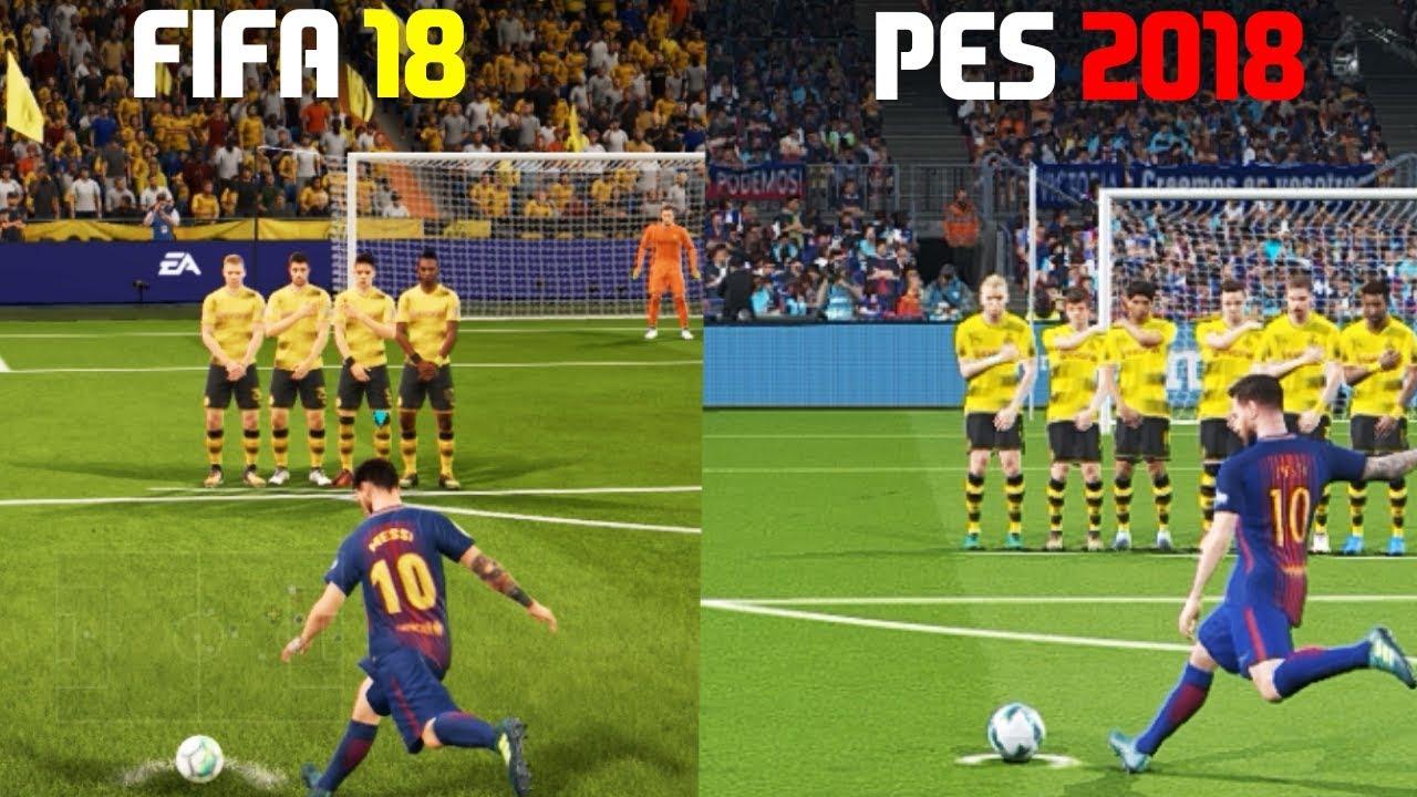 FIFA 18 vs PES 18 - FREE KICKS (featuring Messi, Ronaldo,Bale,Neymar)