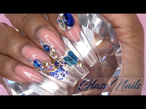 Acrylic Nails Tutorial - How To Glass Nails with Nail Forms - Encapsulated Flower - Gearbest Haul
