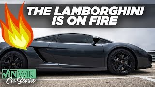 The Lamborghini is on fire!