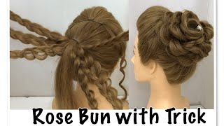 Beautiful Rose Bun Hairstyle with Trick | Easy Wedding Hairstyles