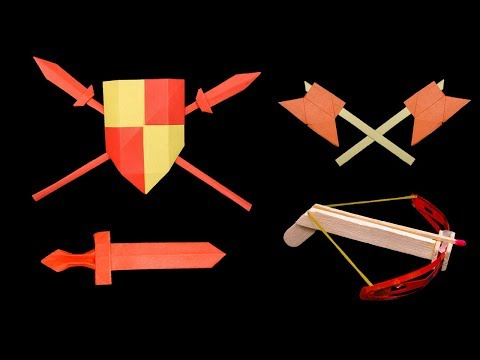 09 origami paper sword/shield/spear/axe/ninja star