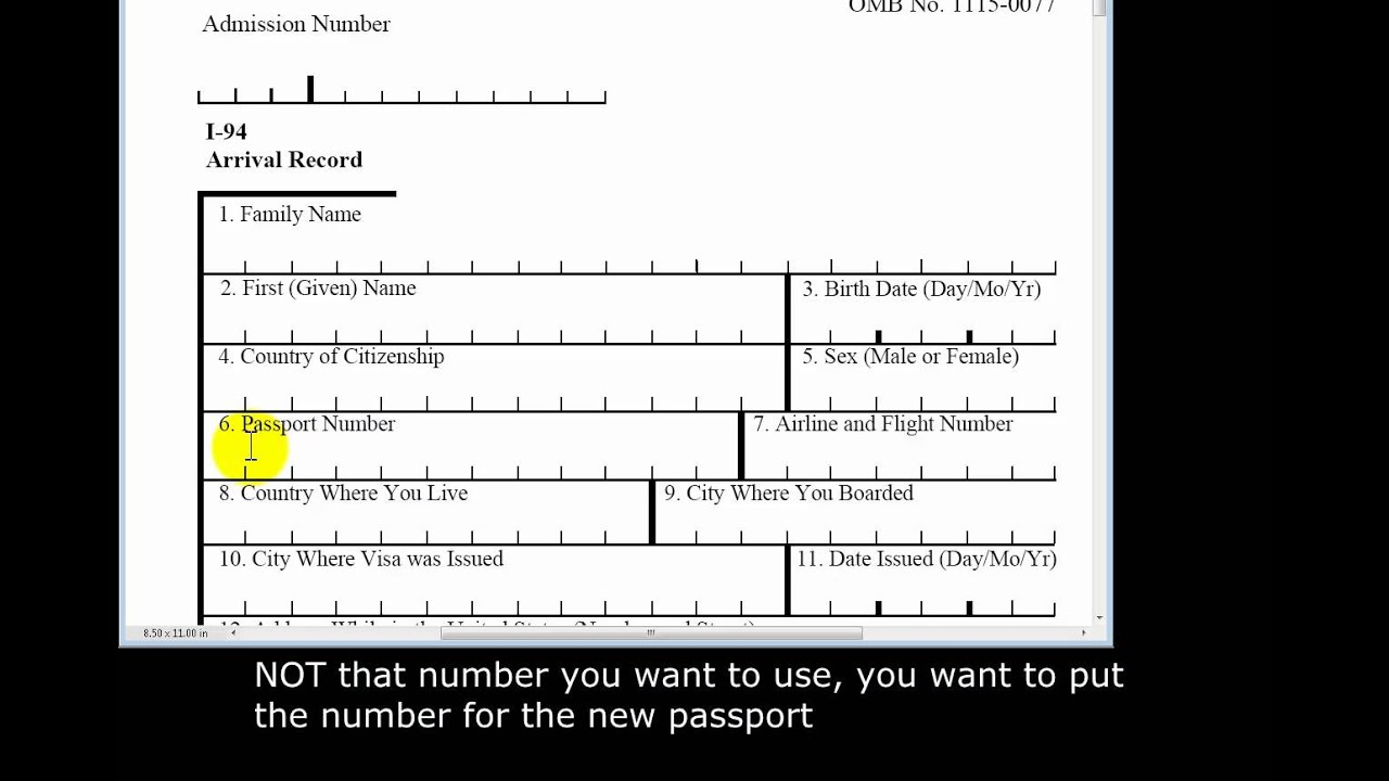 Detailed look at filling out the form I-94 Arrival-Departure ...