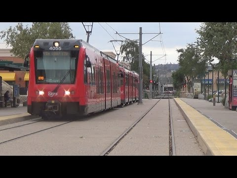 San Diego Trolley Action In Various Places. Front View Of Cab Included
