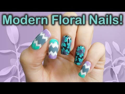 Modern Teal & Purple Floral Nail Art Tutorial thumbnail
