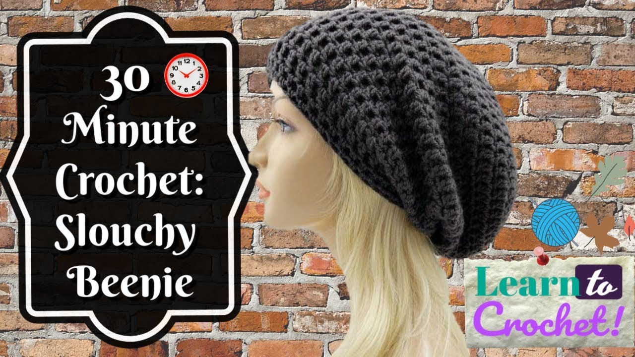 How to Crochet Easy 30 Minute Slouchy Hat for Beginners ... 8c7cb53dc7e