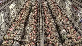 Paratroopers Static Line Jump From C-17 thumbnail