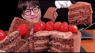 스트로베리 초콜릿 생크림 케이크 리얼사운드먹방 Stra…