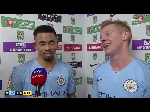 Gabriel Jesus and Zinchenko react to Man City's 9-0 win against Burton! | Post-Match Interview