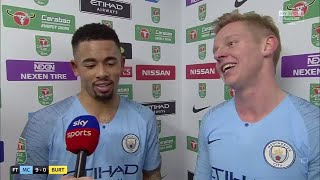 Gabriel Jesus and Zinchenko react to Man City's 9-0 win against Burton! | Post-Match Interview