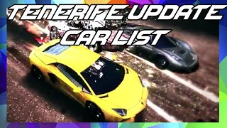 Asphalt 8 | TENERIFE UPDATE CAR LIST (All 8 Cars) + Trailer Footage + Car Name