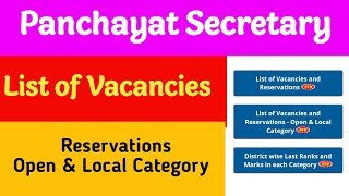 Panchayat Secretary District Wise List of Vacancies and Reservations - Open & Local Category