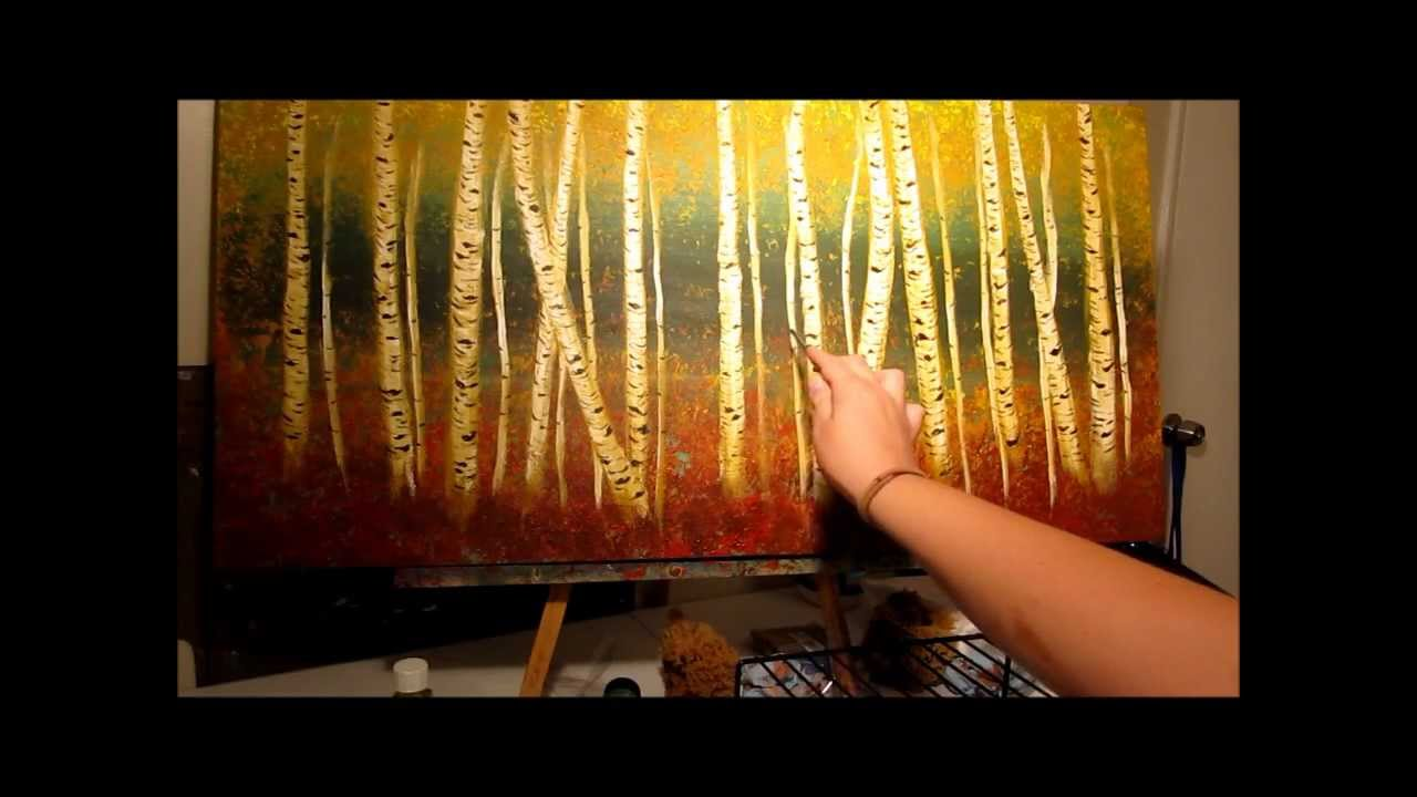 How To Paint Birch Trees Step By Step Youtube