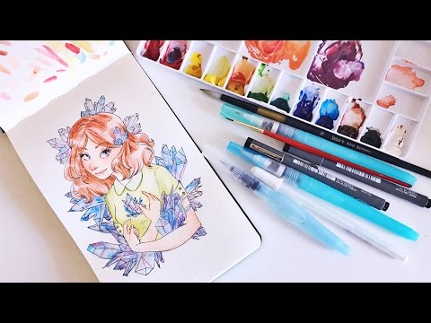 DRAW WITH ME // Watercolor Crystal Girl