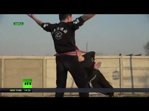 BIZARRE: Kung fu acrobats display death-defying skills
