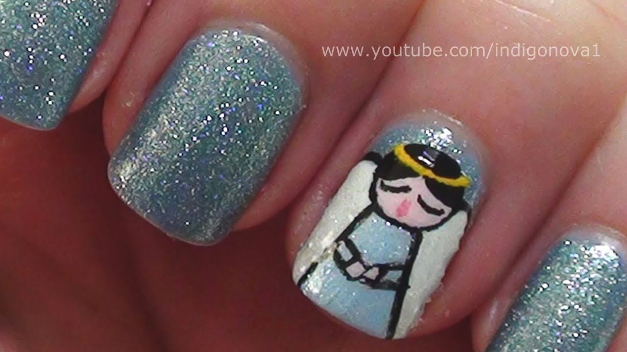 Singing angel christmas nail art tutorial youtube prinsesfo Choice Image