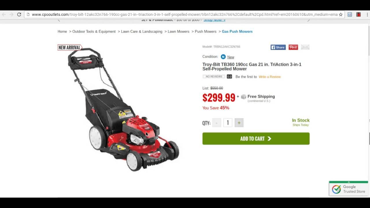 Troy Bilt Lawn Mower Parts >> Troy-Bilt TB360 21inch Lawn Mower ,Fathers Day Sale - YouTube