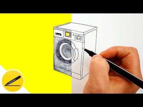 Как нарисовать стиральную машину карандашом