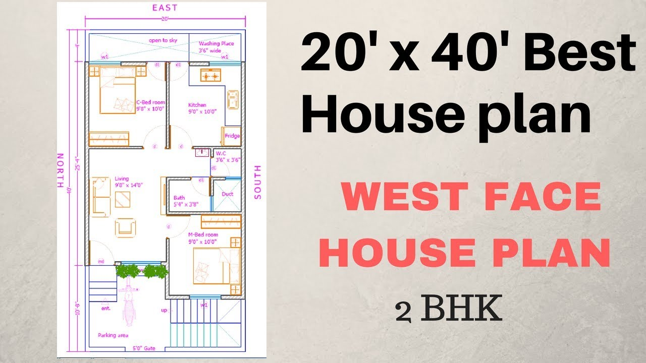 20 X 40 2bhk Plan West Face Explain In Hindi 20' X 40' 2bhk Plan ( West Face ) Explain In Hindi - Youtube
