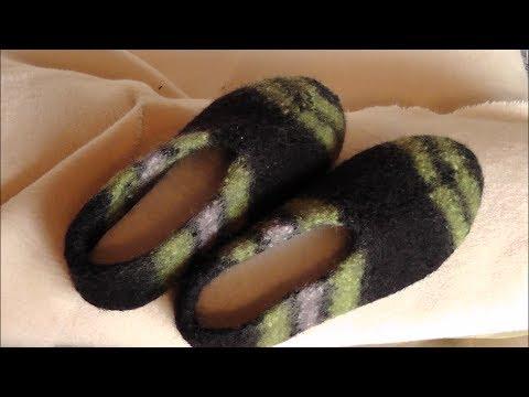 Hausschuhe aus Filzwolle stricken und filzen - Teil 3 / 3 - YouTube