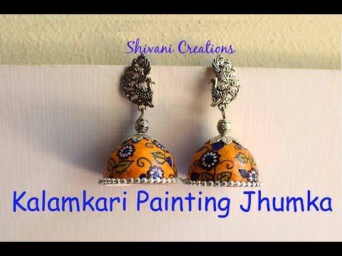 How to make Kalamkari Painting Jhumka/ Handmade Quilled Earrings/ Indian Folk Art