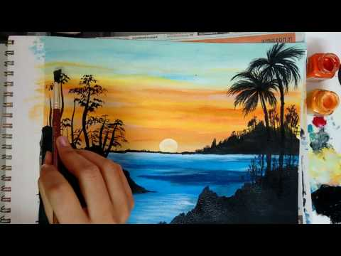 How to paint a beautiful scenery painting - Sunrise   Acrylic Landscape Painting   Simple & Easy
