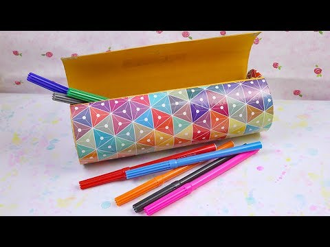 Easy DIY Paper Pencil Case - Best out of waste Craft Ideas.