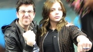 Kick-Ass 2 stars Chloe Moretz & Christopher Mintz-Plasse at Kiss FM (UK) thumbnail