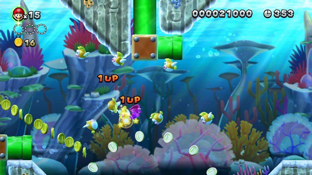 New Super Mario Bros U Underwater Super Stars And 1 Ups In