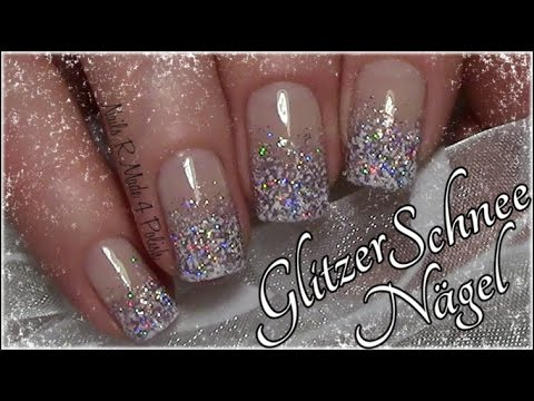 Glitzer Schnee Nagel Einfaches Winter Nageldesign Easy Snow Nail