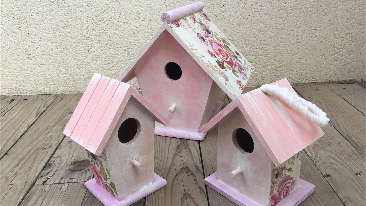 Casas De Pájaros Románticas Decoradas Con Decoupage