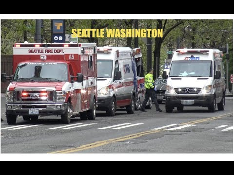 *COMPILATION* Seattle FD EMS  & AMR Units Responding With Lights & Sirens